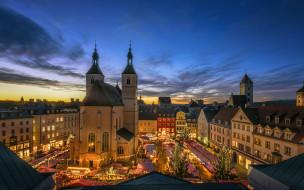 города, регенсбург , германия, панорама, ночь, огни