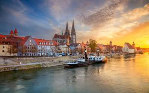 города, регенсбург , германия, река, набережная, дома