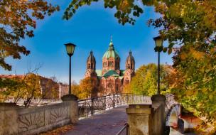 города, мюнхен , германия, мост, собор