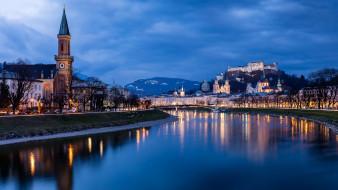 города, зальцбург , австрия, река, замок, вечер, огни