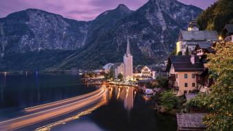города, гальштат , австрия, горы, озеро, огни