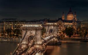города, будапешт , венгрия, река, мост, вечер, огни