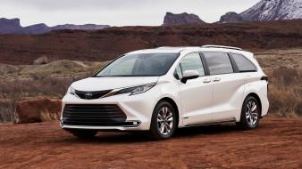 2021 toyota sienna limited hybrid, автомобили, toyota, белый, цвет, 2021, sienna, limited, гибрид