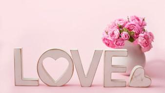 праздничные, день святого валентина,  сердечки,  любовь, букет, розы, надпись, сердечко
