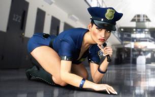 девушка, фон, взгляд, униформа