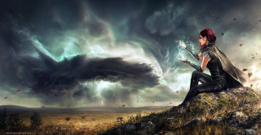 фэнтези, маги,  волшебники, девушка, магия, холм, поле, ураган