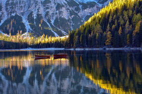 корабли, лодки,  шлюпки, озеро, горы, отражение