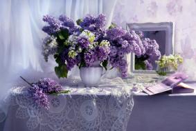цветы, сирень, букет
