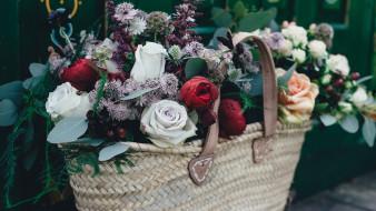 цветы, букеты,  композиции, корзинка, розы, бутоны