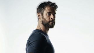 мужчины, chris hemsworth, актер, лицо, борода, футболка