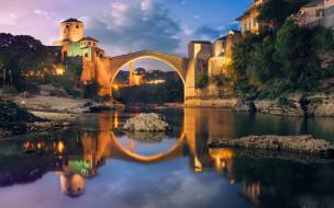 города, мостар , босния и герцеговина, река, мост, вечер, огни