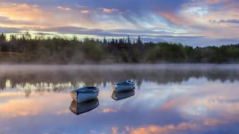 корабли, лодки,  шлюпки, река, закат, туман
