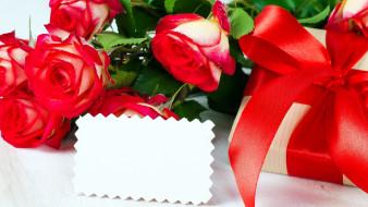 праздничные, подарки и коробочки, розы, подарок, лента, бант, алый