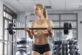 мотивация, тяжелая атлетика, девушка, спортзал, штанга, блондинка