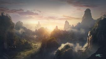 обои для рабочего стола 1920x1080 рисованное, природа, горы, леса, туман, вечер, закат, облака, небо