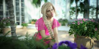 девушка, фон, взгляд, цветы, горшок