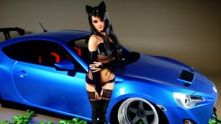девушка, фон, ушки, автомобиль