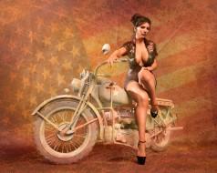 девушка, фон, взгляд, мотоцикл
