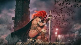 девушка, фон, башня, униформа, меч