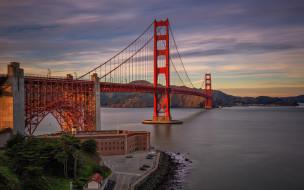 города, сан-франциско , сша, golden, gate, bridge, сан, франциско, калифорния, красный, подвесной, мост, горный, ландшафт, золотые, ворота