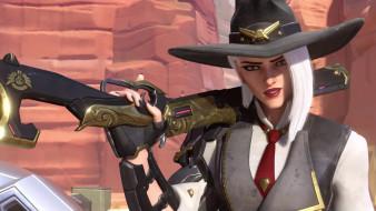 девушка, фон, взгляд, шляпа, ружьё