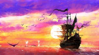 корабли, рисованные, the, whaler, dominik, mayer