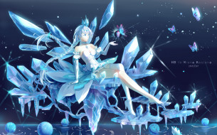 девушка, кристаллы, лед, вода, бабочки