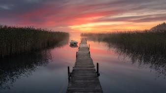 мостки, лодка, закат, туман, река
