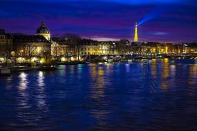 города, париж , франция, река, вечер, огни