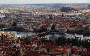 города, прага , чехия, панорама