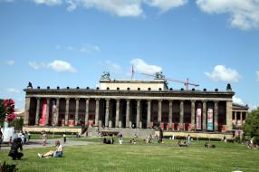 города, берлин , германия, музей, лужайка