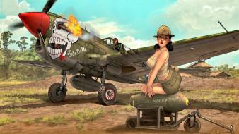 рисованное, люди, девушка, самолет