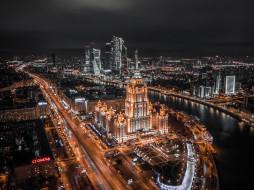 города, москва , россия, гостиница, украина, москва, река, твбн, огни, ночь