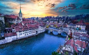 города, берн , швейцария, река, мост, закат