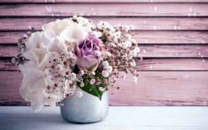 обои для рабочего стола 2880x1800 цветы, букеты,  композиции, гортензия, роза