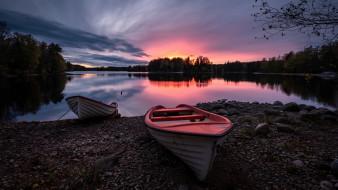 закат, лодка, река