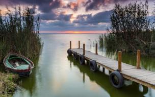 закат, лодка, река, мостки
