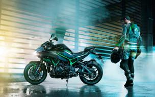 2020 kawasaki z h2, мотоциклы, kawasaki, z, h2, гонщик, шлем, комбинезон, японские