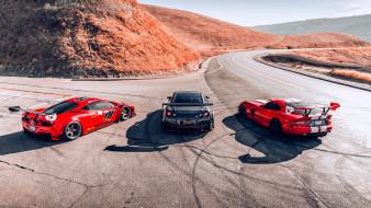 автомобили, разные вместе, ferrari, nissan, dodge