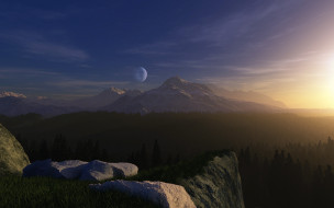 3д графика, природа , nature, луна, горы, лес