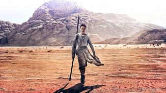 девушка, шест, скалы, пустыня
