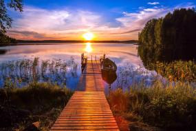 река, лодка, закат