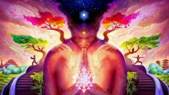 рисованное, - другое, медитация, чакры, цигун