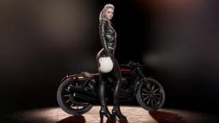 indian, мотоцикл, девушка, шлем, artist, artwork