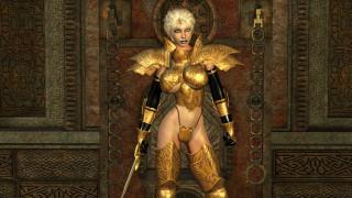 3д графика, фантазия , fantasy, девушка, фон, взгляд, униформа, меч