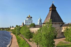 псков, города, - православные церкви,  монастыри, россия, город, кремль, крепость, башни, собор
