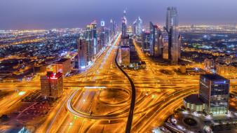 города, дубай , оаэ, объединенные, арабские, эмираты, трасса, ночь, дубай