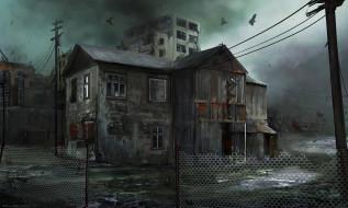 город, дома, развалины, забор, птицы