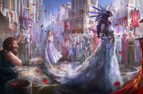 девушка, фон, город, люди, платье