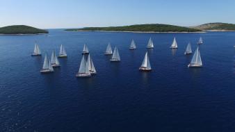 корабли, яхты, озеро, паруса